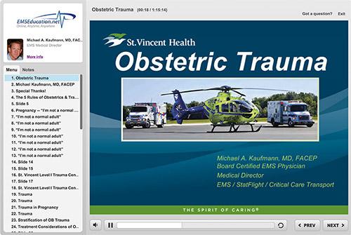 Screen shot of EMS Education online training